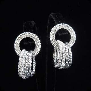 Glam Designer Inspired Clear Crystal Multi Rings Dangle Earrings