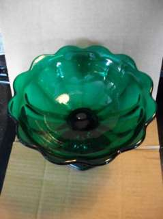 Dark Green Glass Pedestal Fruit Bowl With Panel Design