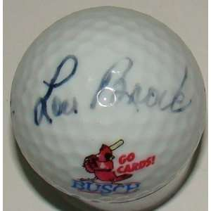Lou Brock SIGNED Baseball Golf Ball PSA
