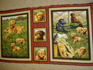 Golden black retriever dog dogs 45248 rs panels Fabric