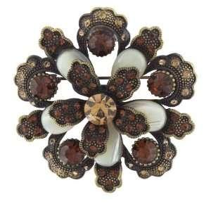 Vintage Gold Tone Studded Blossom Brooch Gifts Pugster