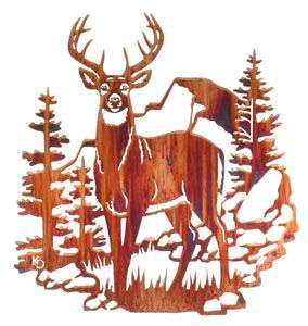 WHITETAIL BUCK METAL ART WALL HANGING NATURE HOME DECOR