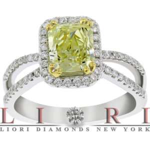 55 CARAT NATURAL FANCY YELLOW RADIANT CUT DIAMOND ENGAGEMENT RING