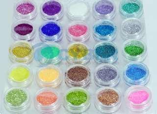 50 Color Glitter Sparkle Dust Powder Nail Art Make Up