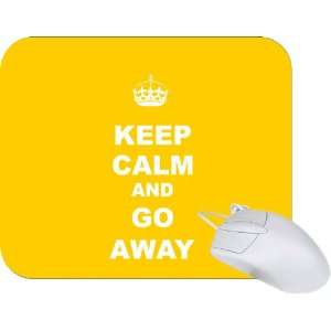 Rikki Knight Keep Calm or Go Away   Yellow Color Mouse Pad