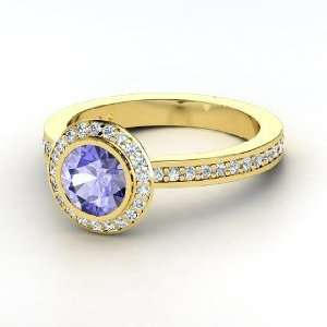Roxanne Ring, Round Tanzanite 14K Yellow Gold Ring with