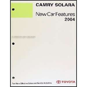 2004 Toyota Camry Solara Coupe Features Manual Original Toyota Books