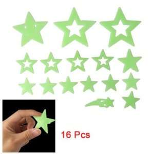 Wall 16 Pcs Light Green Star Meteor Luminous Stickers