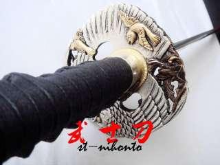 clay tempered 1095 carbon steel blade ninja sword silver eagle tsuba