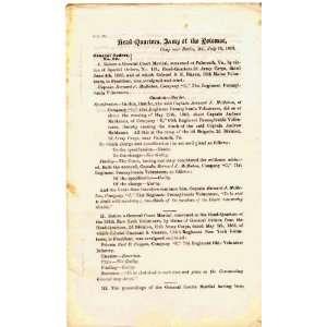 Civil War Army of the Potomac Printed Orders 1861 1863