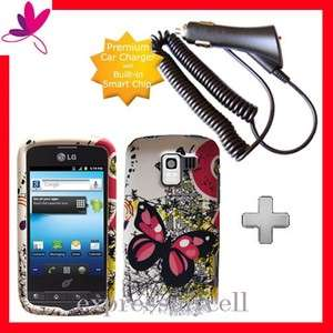 Rapid Car Charger + BUTTERFLY Hard Case Cover Straight Talk NET 10 LG