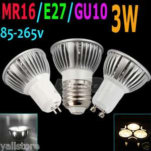 3W 85 265V Pure White/Warm White LED Spotlight Lamp Light Bulb
