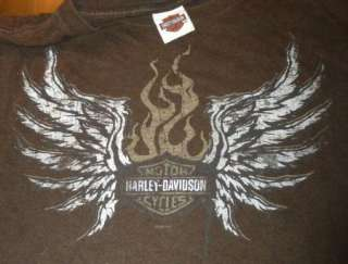 HARLEY DAVIDSON T Shirt KANSAS CITY Vintage BROWN Motorcycle BIKER