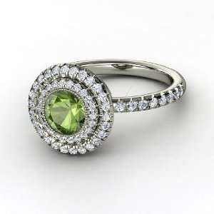 Natalie Ring, Round Green Tourmaline 14K White Gold Ring