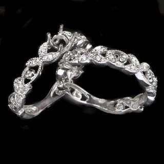 VINTAGE SEMIMOUNT ROUND DIAMOND ENGAGEMENT RING SETTING