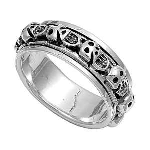 Sterling Silver Spinner Ring   Skull Design   8mm Band Width   Size: 5