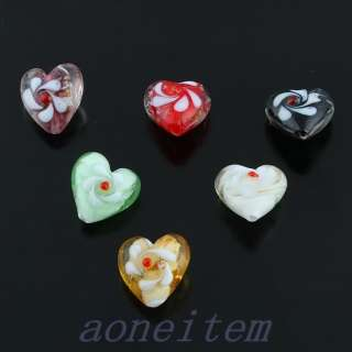 Mix color Murano Lampwork Glass Flower Heart Square Loose Spacer Beads
