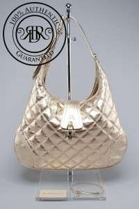 NEW BURBERRY $850 BROOK QUILTED GOLD LEATHER HOBO SHOULDER BAG (57119