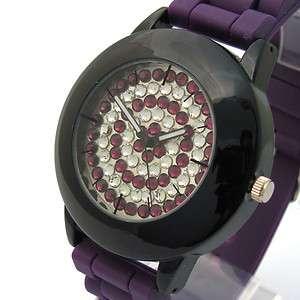 Henley Ladies Big Diamante Watch rubber strap 293 Purple Silicone