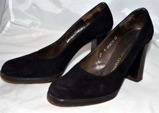 Jourdan Paris Black Suede Leather Womans Pump High Heel Shoes Sz 6.5 A