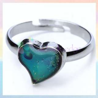 Magic Heart Mood Band Ring Color Changable Adjustable Size Gift