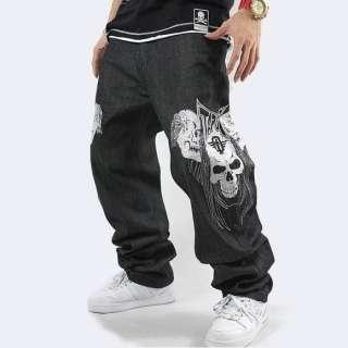 Baggy Embroidery Loose Hip Hop Denim Streetwear Size W30 42