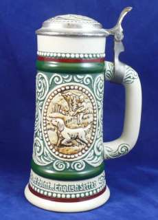 Lidded Beer Stein Mug Avon Ceramic Hunting Dog Fishing 9 inch