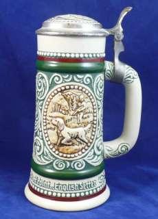 Lidded Beer Stein Mug Avon Ceramic Hunting Dog Fishing 9 inch |