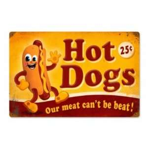 Hot Dog Food Beat Our Meat Vintage Metal Sign: Home