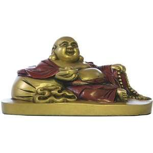 Small Reclining Happy Buddha Statue Sculpture