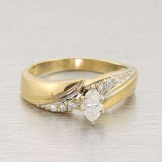 Yellow Gold Marquise Cut Diamond Vintage Estate Engagement Ring
