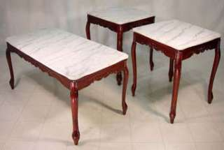 Mahogany/White Marble 3 pc Chippendale Coffee Table Set