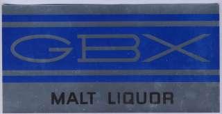1970s GBX MALT LIQUOR DECAL STICKER 4 x 8