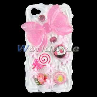Bowknot Milk Skin Cream Soft Rubber Hard Case Cover For iPhone 4G 4S