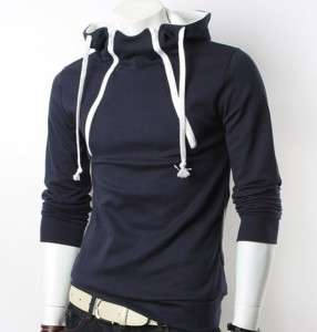 NEW FASHION MEN DOUBLE ZIP COTTON HOODIE SWEATSHIRT