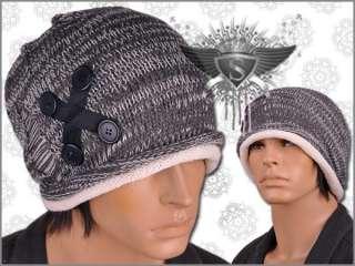 AM112 Tear Lace Up Button Punk Rock Men Beanie Hat