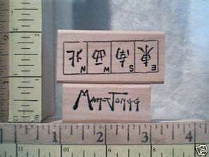 MAH JONGG CHINESE GAME WOOD 2 MOUNTED RUBBER STAMPS
