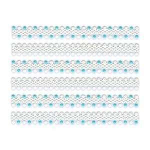 Iridescent Glitter White & Blue Dot Trim Strip Nail Stickers/Decals