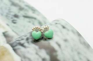 New Brand Fashion Lovely Cute Gift Pearl Stone Heart Earrings 5 Color