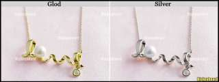 Golden Silver Love letter Twist Pendant Necklace with Pearl Rhinestone