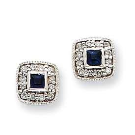 NEW 6mm 14k White Gold Diamond & Sapphire Earrings
