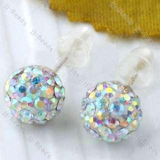 925 Silver AB White Czech Crystal Ball 6mm Earring Stud
