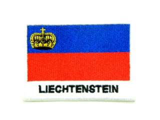 LIECHTENSTEIN FLAG CROWN IRON ON PATCH EMBROIDERED I196