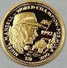 1992 Liberian 20 Dollar Gold Proof Coin, Nigel Mansell, Formula 1