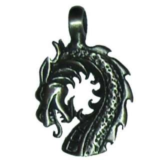 Mens / Womens Pewter Fire Dragon Leather Necklace