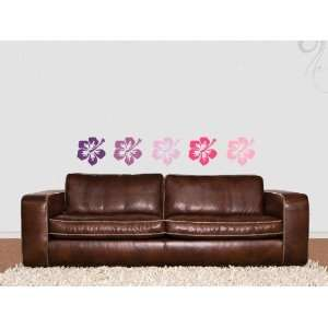 Wall Sticker Decal Hibiscus Flower 20cm  90 silver