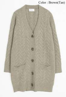 New Womens Lambswool Chunky Cable Knit Long Cardigan Sweater Size S