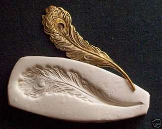 PEACOCK BIRD FEATHER ~ CNS polymer clay mold polyclay