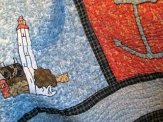King Size Quilt Nautical Theme   Multi Color   Light House   Sailboat
