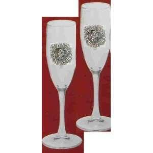 Rose Champagne Flute Glass 5.75 oz Set of 2 Kitchen